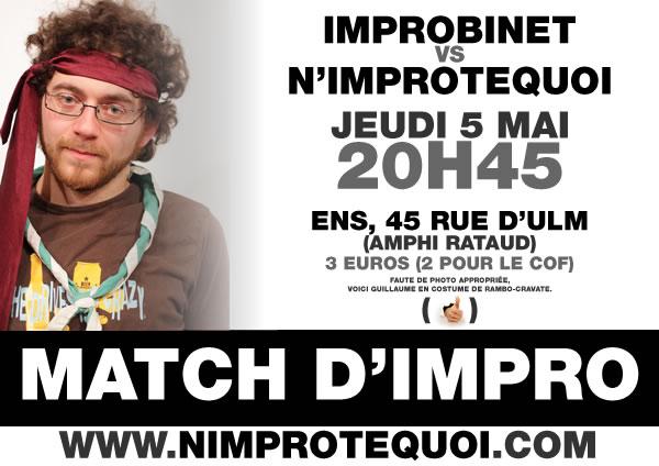 Affiche du match d'improvisation Improbinet VS N'Improtequoi - 5 mai 2011