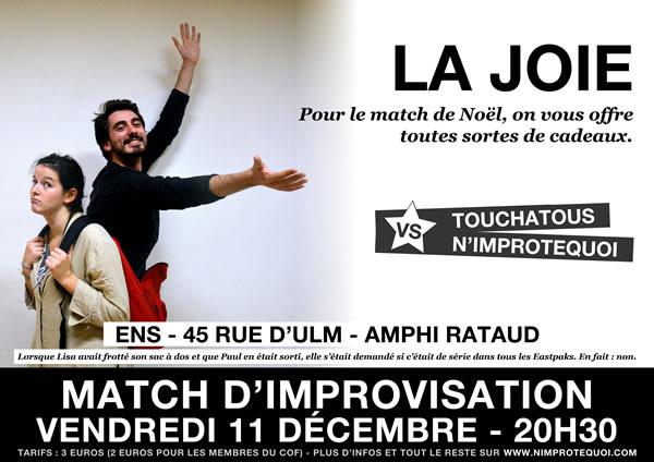 Match d'improvisation vendredi 11 décembre N'Improtequoi vs Touchatous