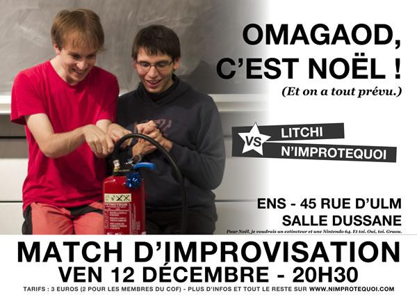 Affiche du match d'improvisation N'Improtequoi vs LITCHI du 12 décembre 2014
