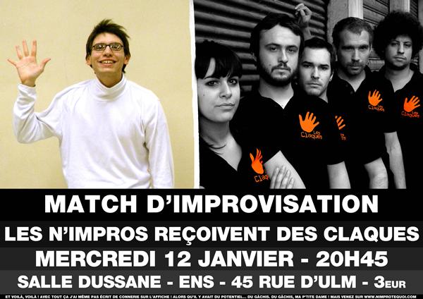 Affiche du match d'improvisation du 12 janvier 2011