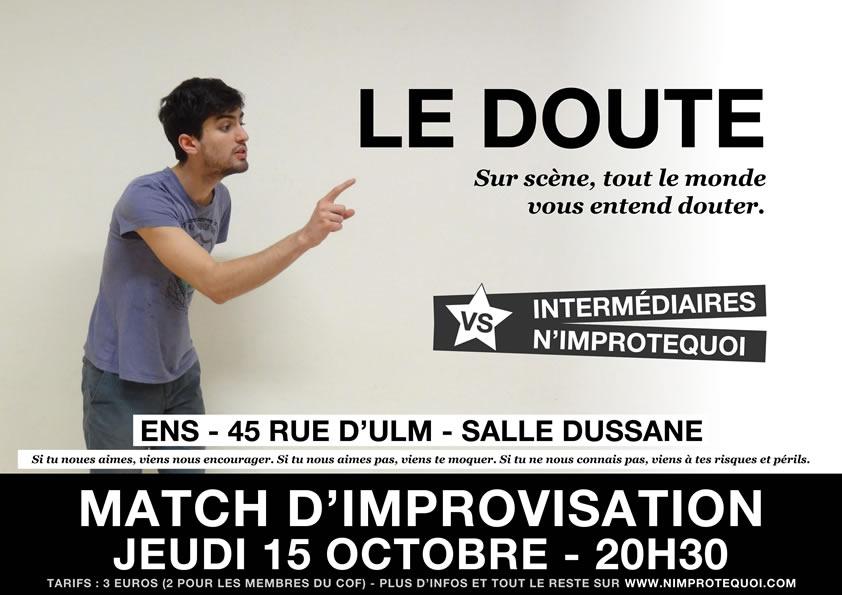 Affiche du match d'improvisation N'Improtequoi vs Intermédaires du 15 octobre 2015