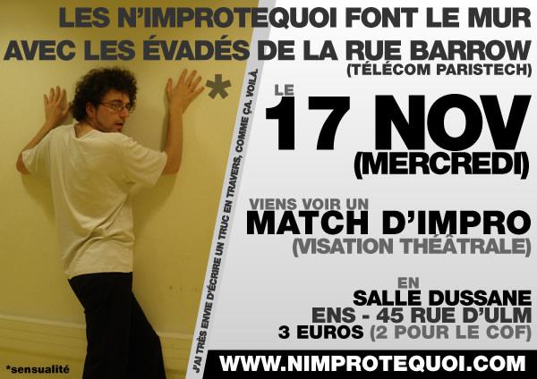 Affiche du 17 novembre 2010 - Match contre les évadés de la Rue Barrow