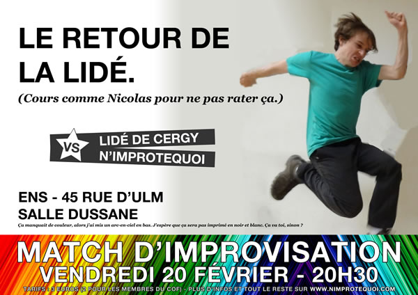 Affiche du match d'improvisation LIDÉ de Cergy vs N'Improtequoi