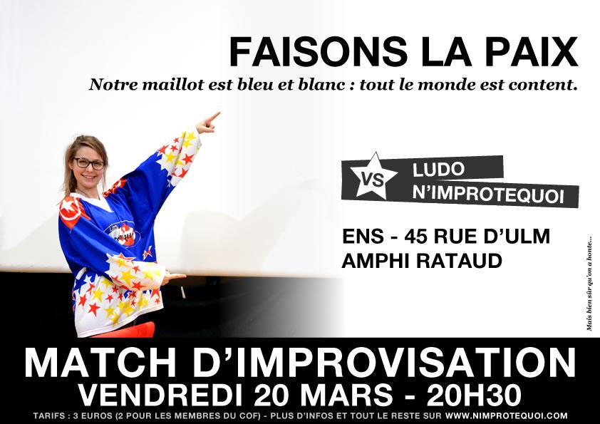 Affiche du match d'improvisation LUDO vs N'Improtequoi du 20 mars 2015