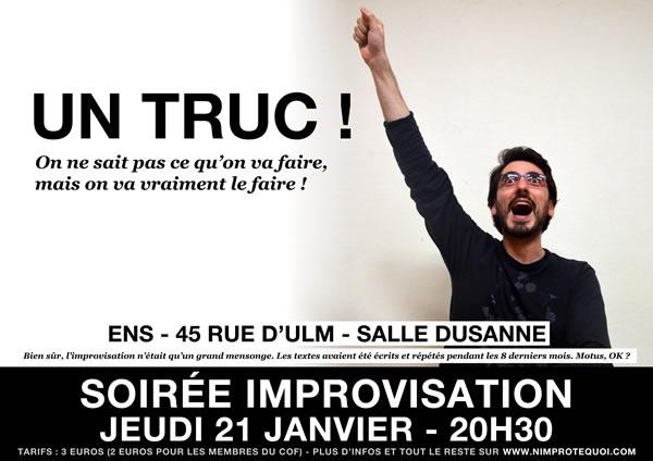 Affiche du match d'improvisation du 21 janvier 2016