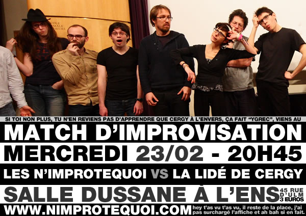 Affiche du match d'improvisation contre la LIDÉ de Cergy