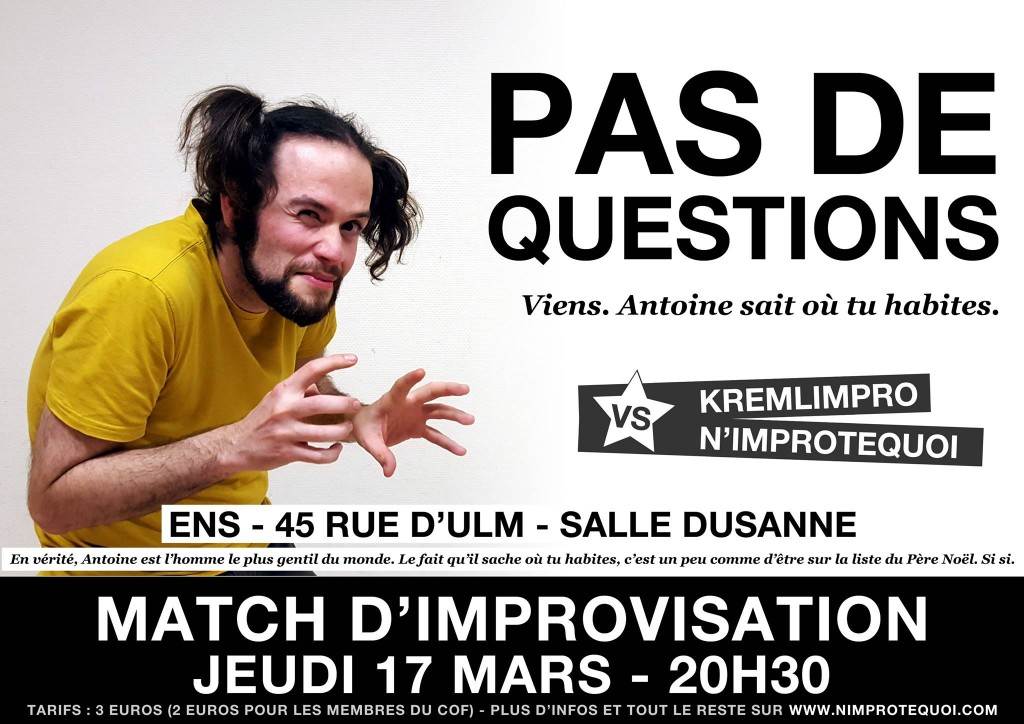 affiche du match d'improvisation kremlimpro nimprotequoi 17 mars 2016