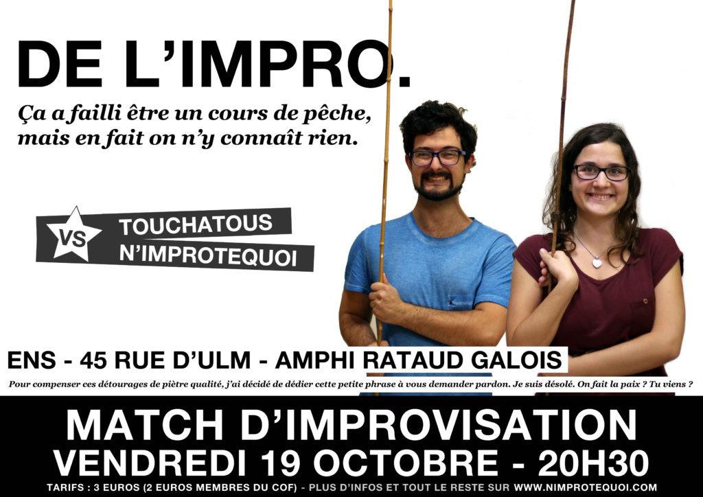 affiche du match d'improvisation touchatous n'importequoi 19 octobre 2018